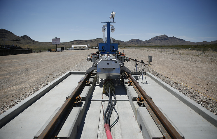 Test of a Hyperloop One propulsion system in North Las Vegas