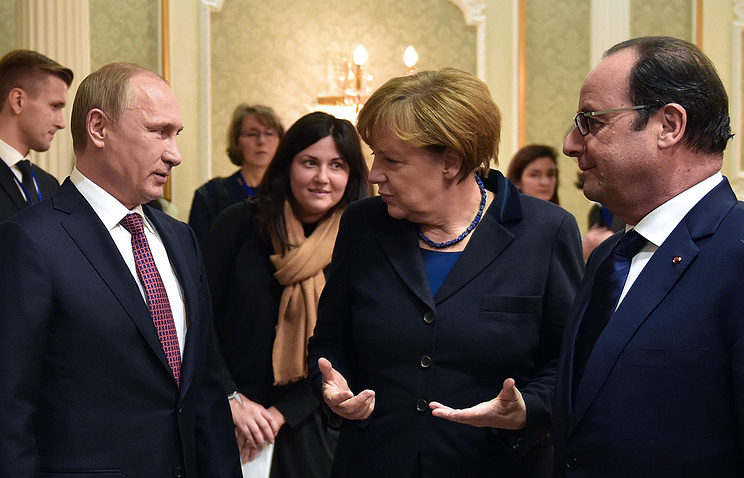 Russia's president Vladimir Putin, Germany's chancellor Angela Merkel and France's president Francois Hollande ahead of 'Normandy format' talks in Minsk