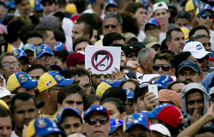 People protesting against Venezuela's President Nicolas Maduro in Caracas
