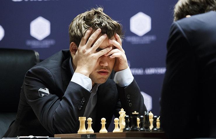 Magnus Carlsen during game aganist Russian chess grandmaster Sergey Karjakin