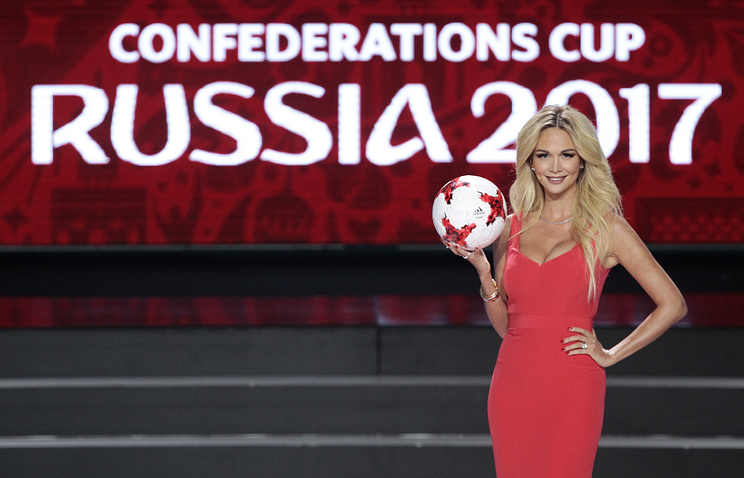 Victoria Lopyreva, model and envoy for 2018 World Cup, at the draw for the soccer Confederations Cup 2017
