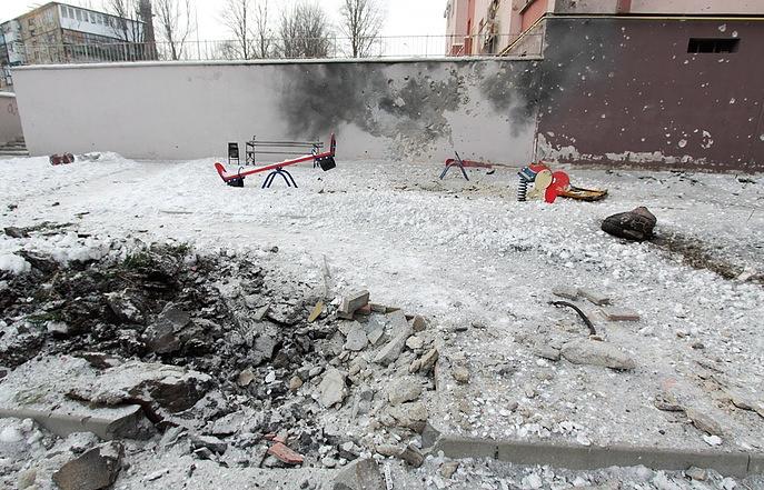 A Donetsk playground damaged by sheliing