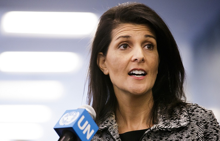 The US ambassador to the UN, Nikki Haley