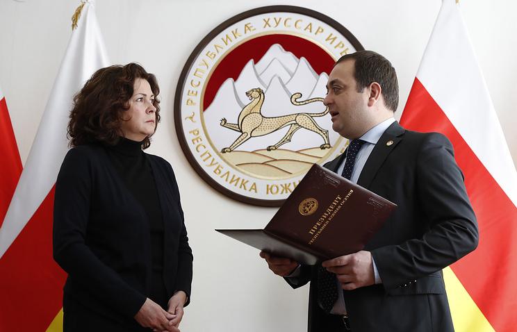 Irina Churkina, the widow of Russia's Ambassador to the United Nations Vitaly Churkin, and South Ossetia's Ambassador to Russia Znaur Gassiyev