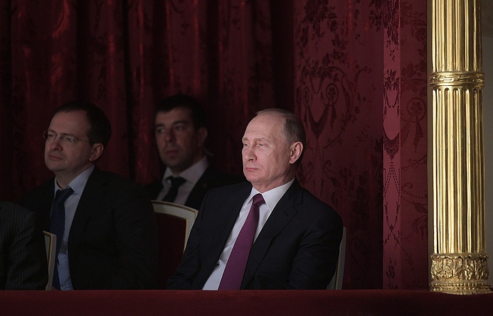 Russian President Vladimir Putin attends a performance at Moscow's landmark Maly drama theater