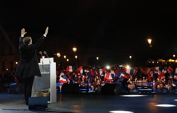 Leader of the En Marche! movement Emmanuel Macron