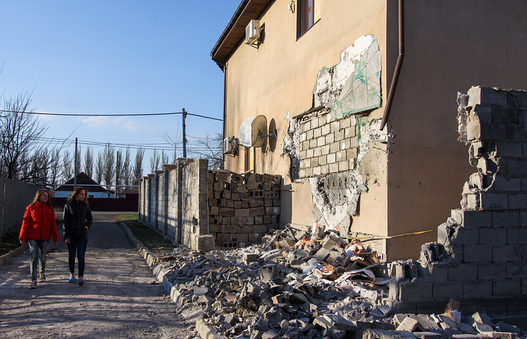 A damaged house in a residential area of Donetsk