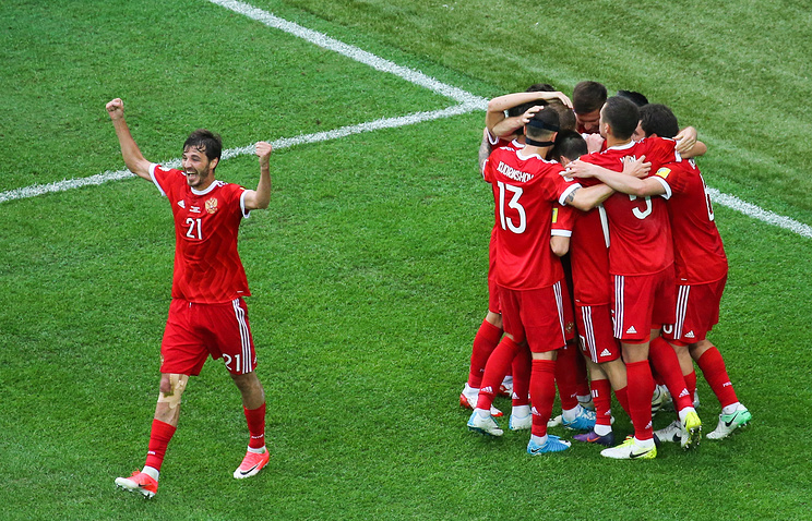 Russia's players celebrate scoring in their 2017 FIFA Confederations Cup Group A match against New Zealand at Saint Petersburg Arena Stadium