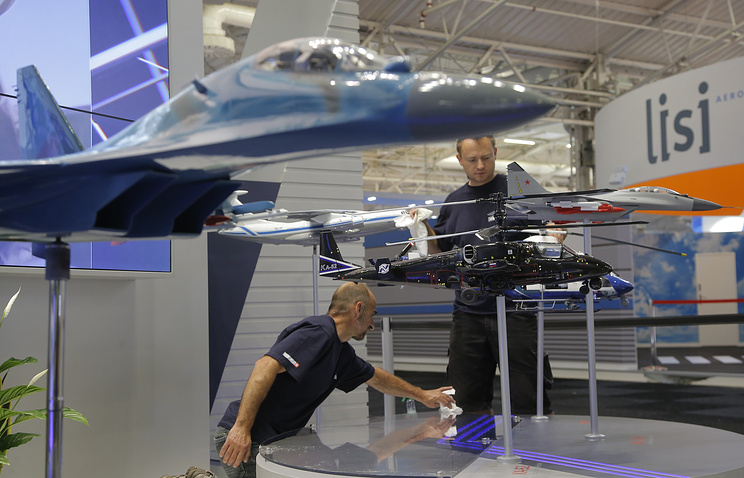 Aircraft models at Rosoboronexport stand, at Paris Air Show in Le Bourget