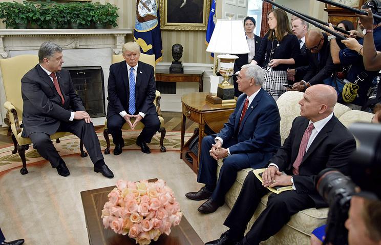 US President Donald Trump, Ukrainian President Petro Poroshenko, US National Security Advisor H.R. McMaster and Vice President Mike Pence