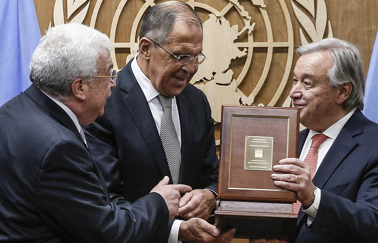 TASS First Deputy Director General Mikhail Gusman, Russian Foreign Minister Sergey Lavro and United Nations Secretary General Antonio Guterres