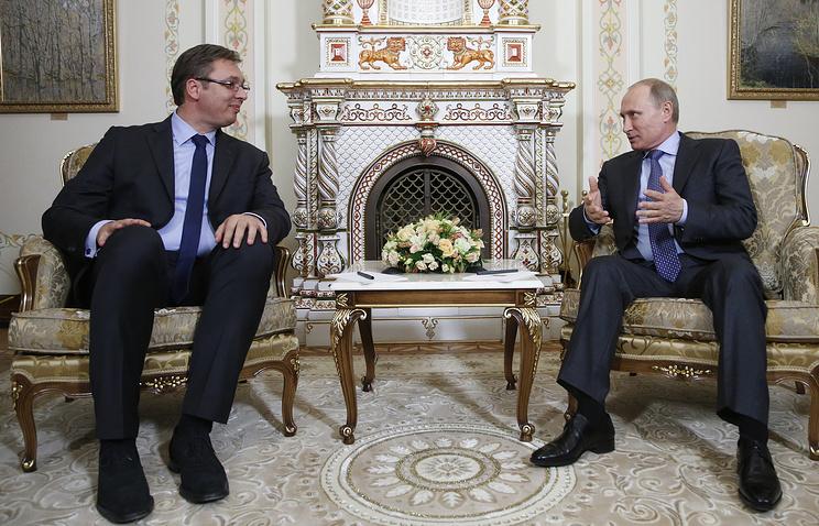 Serbia's President Aleksandar Vucic and Russia's President Vladimir Putin