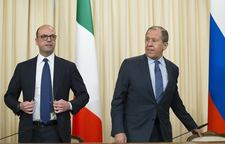 Russian Foreign Minister, Sergey Lavrov and Italian Foreign Minister, Angelino Alfano