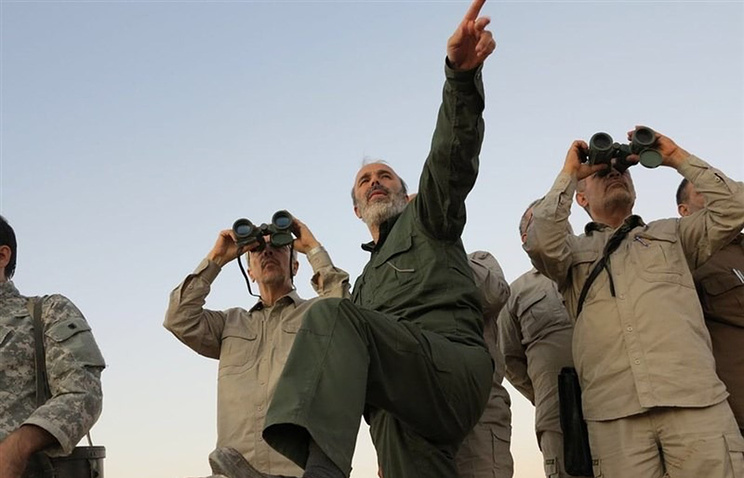 Iranian senior officers visiting front line in the northern province of Aleppo, Syria