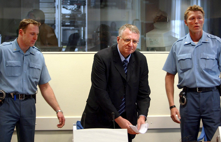 Vojislav Seselj is seen during his initial appearance at the Yugoslav war crimes tribunal in The Hague