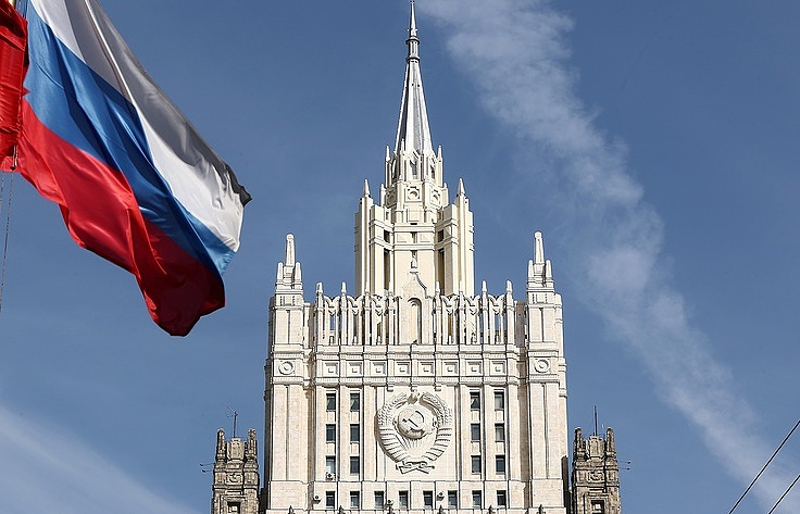 A view of the Russian Foreign Ministry building in Smolenskaya Square