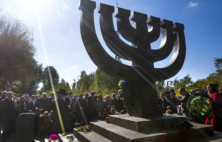 A monument in Babi Yar ravine where Nazi troops machine-gunned tens of thousands of Jews during WWII, in Kiev