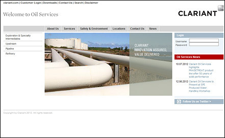 Screenshot www.oil.clariant.com