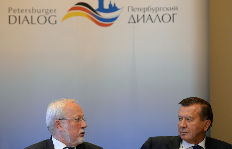 Chairpersons of the Petersburg Dialogue Lothar de Maiziere (L) for Germany and Viktor Zubkov for Russia