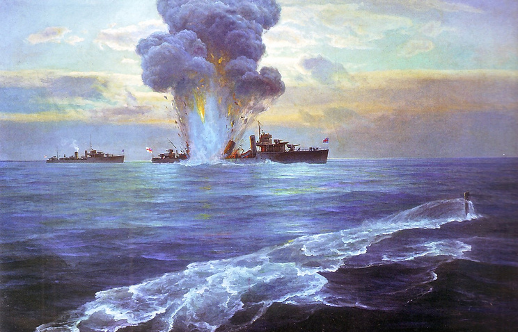 """Н.Е. Бубликов и Г.В. Горшков. """"Потопление подводной лодкой Балтийского флота """"Пантера"""" английского эскадренного миноносца """"Витториа"""" у острова Сескар. 31 августа 1919 г."""""""