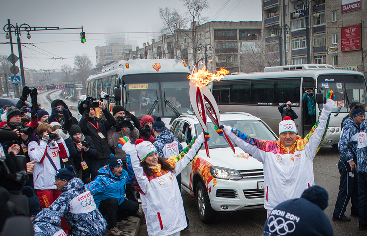 Этап эстафеты Олимпийского огня в Хабаровске