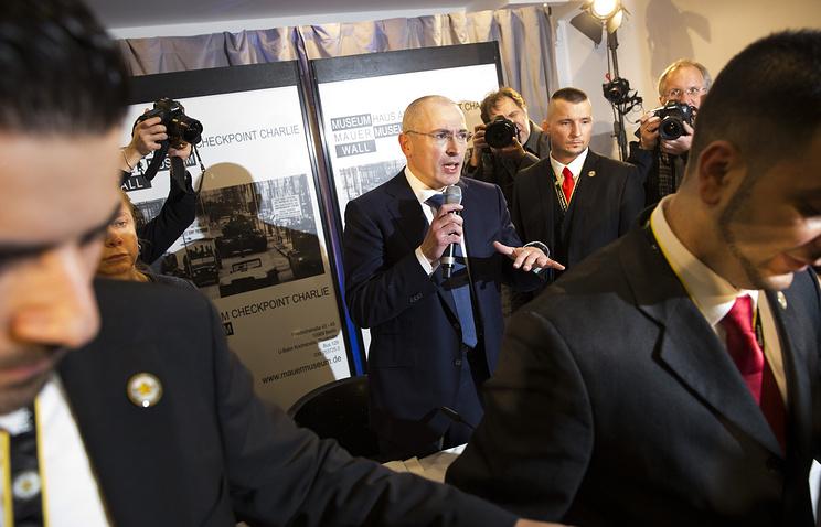 Михаил Ходорковский во время пресс-конференции в Музее Берлинской стены