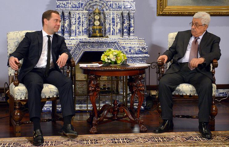 Премьер-министр РФ Дмитрий Медведев и президент Палестины Махмуд Аббас