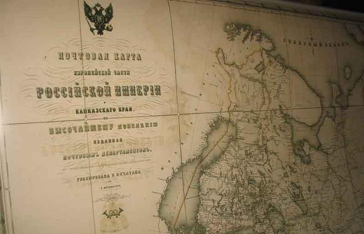 Почтовая карта России, представленная на выставке музея почтовой связи в Челябинске
