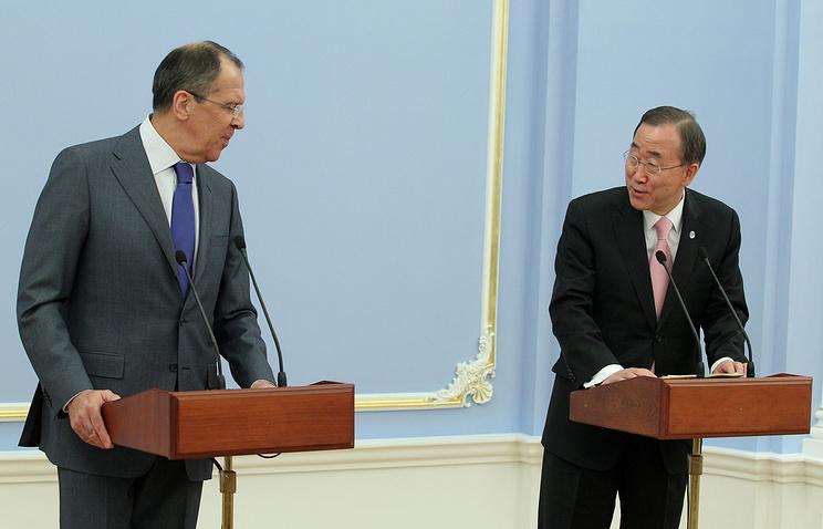 Министр иностранных дел РФ Сергей Лавров и генеральный секретарь ООН Пан Ги Мун