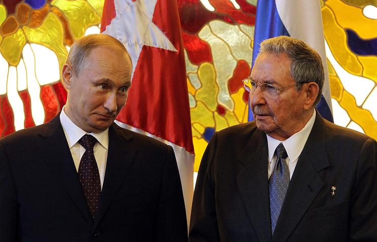Владимир Путин и председатель Госсовета и Совета министров Кубы Рауль Кастро