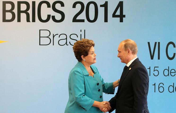 Президент Бразилии Дилма Роуссефф и президент России Владимир Путин на саммите БРИКС