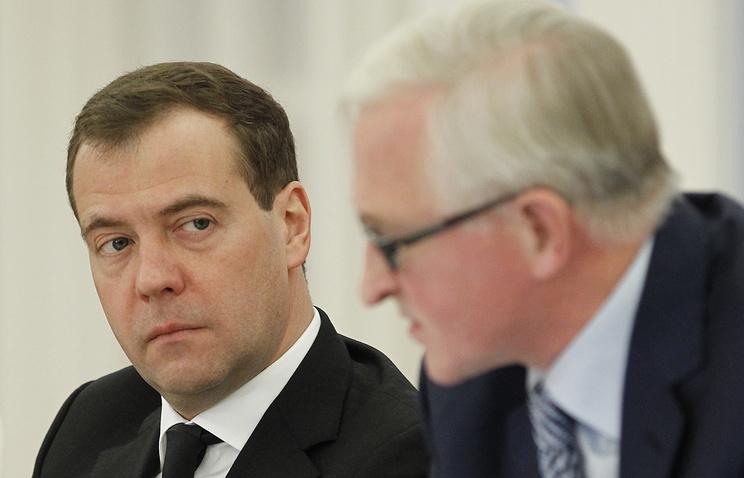 Премьер-министр России Дмитрий Медведев и президент РСПП Александр Шохин
