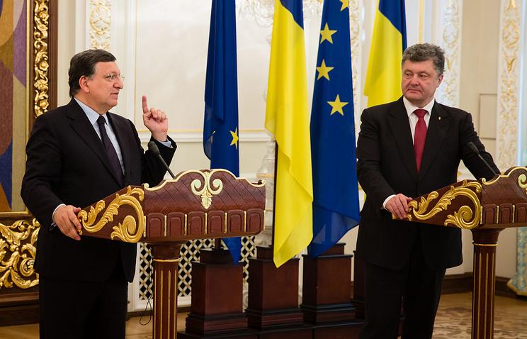 Председатель Еврокомиссии Жозе Мануэл Баррозу и президент Украины Петр Порошенко