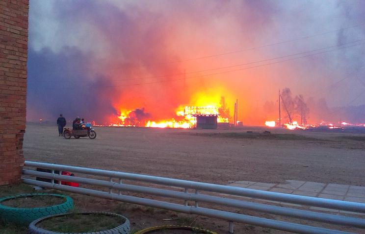 Пожар в посёлке Дальний. Архив