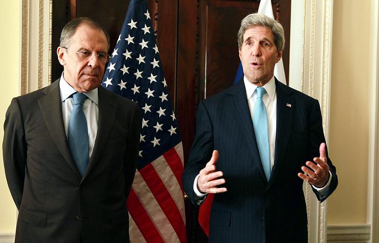 Министр иностранных дел России Сергей Лавров и госсекретарь США Джон Керри