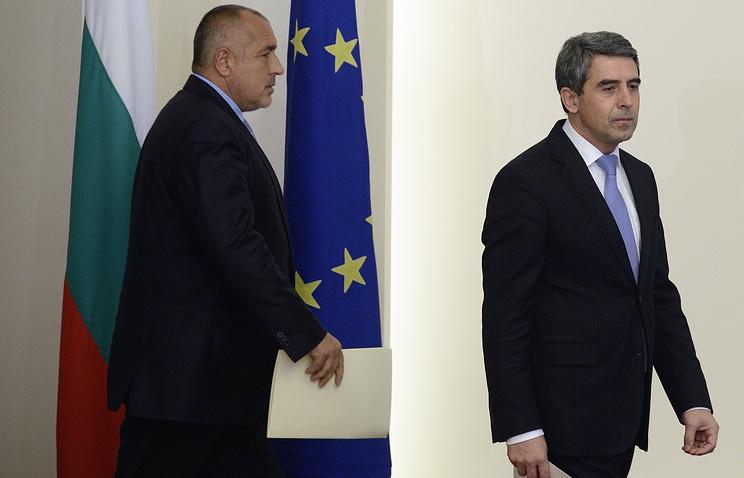 Лидер партии ГЕРБ Бойко Борисов и президент Болгарии Росен Плевнелиев