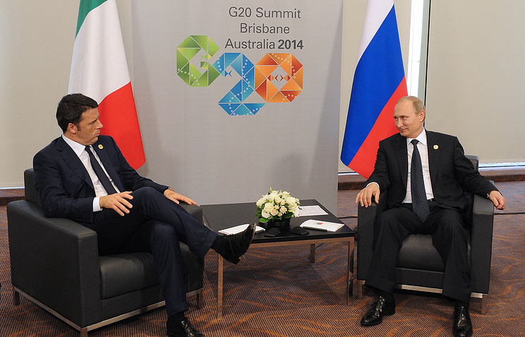 Председатель Совета министров Италии Маттео Ренци и президент России Владимир Путин