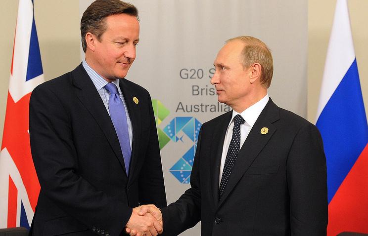 Премьер-министр Великобритании Дэвид Кэмерон и президент России Владимир Путин