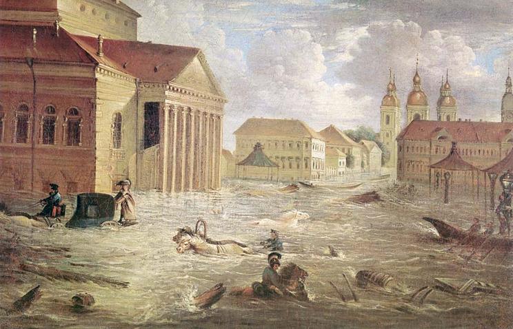 7 ноября 1824 года(по старому стилю) на площади у Большого каменного театра. Картина Ф.Я. Алексеева