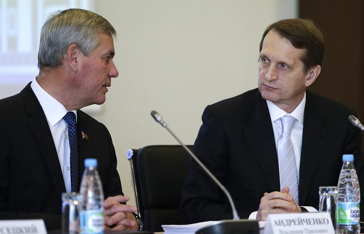 Национального собрания республики Беларусь Владимир Андрейченко и спикер Госдумы РФ Сергей Нарышкин