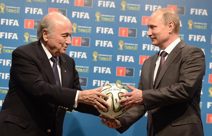 Глава ФИФА Йозеф Блаттер и Владимир Путин
