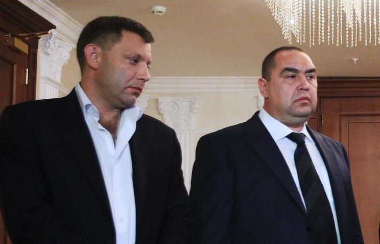 Премьер-министр ДНР Александр Захарченко, лидер Луганской народной республики Игорь Плотницкий