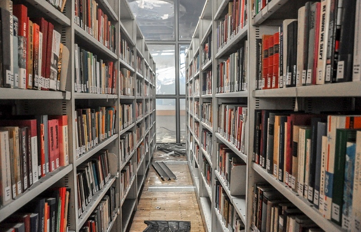 В  зале библиотеки ИНИОН после пожара
