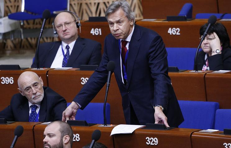 Алексей Пушков выступает на пленарном заседании Парламентской ассамблеи Совета Европы