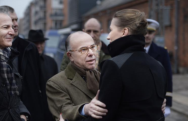 Глава МВД Франции Бернар Казнев и министр юстиции Дании Метте Фредериксен