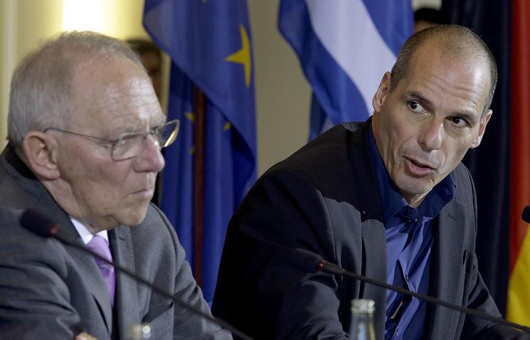 Министр финансов Германии Вольфганг Шойбле и министр финансов Греции Янис Варуфакис