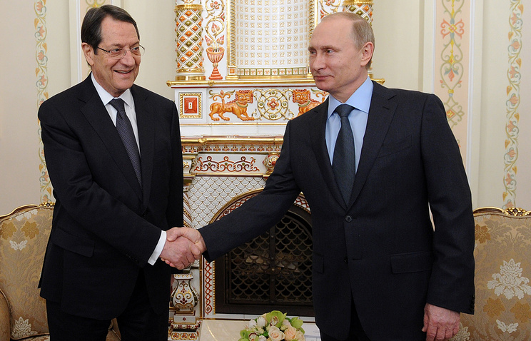 Президент Кипра Никос Анастасиадис и президент России Владимир Путин