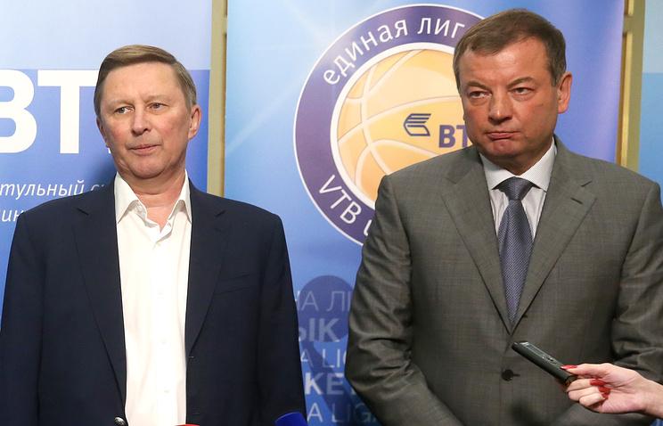 Почетный президент Единой лиги ВТБ Сергей Иванов и президент Единой лиги ВТБ Сергей Кущенко