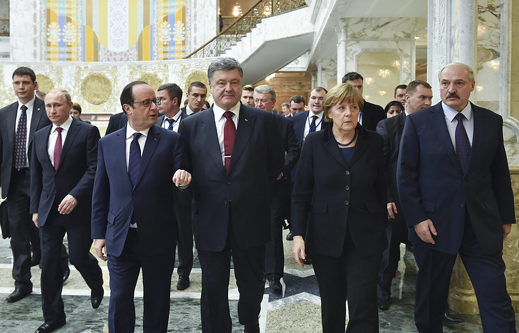 """Встреча лидеров """"нормандской четверки"""" в Минске, 11 февраля 2015 года"""