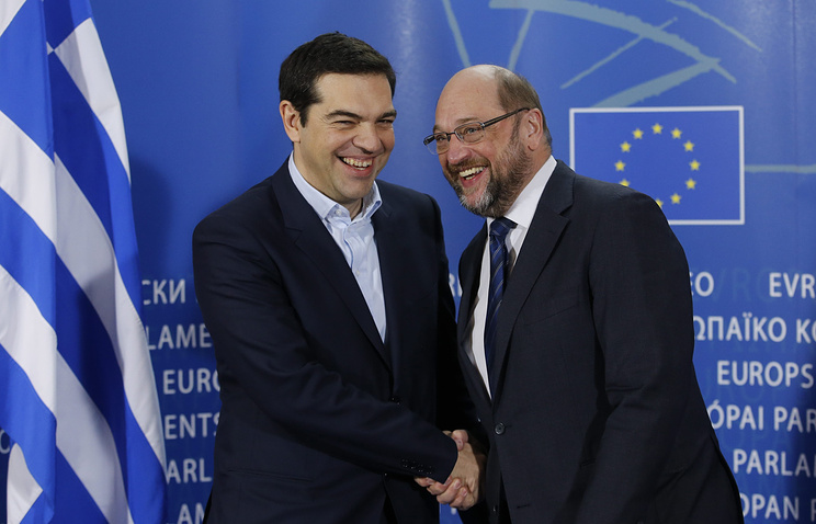 Алексис Ципрас и президент Европейского Парламента Мартин Шульц